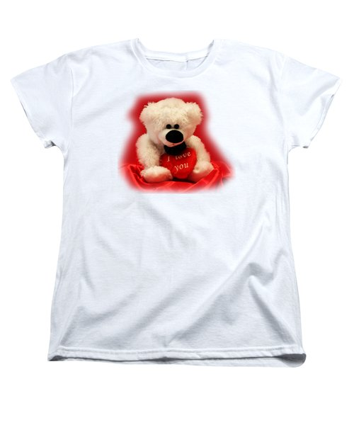 Women's T-Shirt (Standard Cut) featuring the photograph Valentine Bear by Linda Phelps