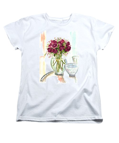 Valentines Crystal Rose Women's T-Shirt (Standard Cut) by Clara Sue Beym