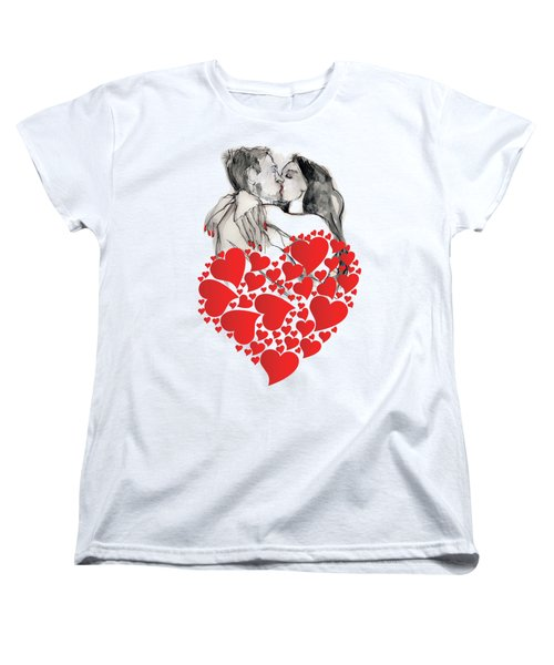 Women's T-Shirt (Standard Cut) featuring the painting Valentine's Kiss - Valentine's Day by Carolyn Weltman