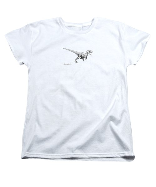 Women's T-Shirt (Standard Cut) featuring the drawing Velociraptor - Dinosaur Black And White Ink Drawing by Karen Whitworth