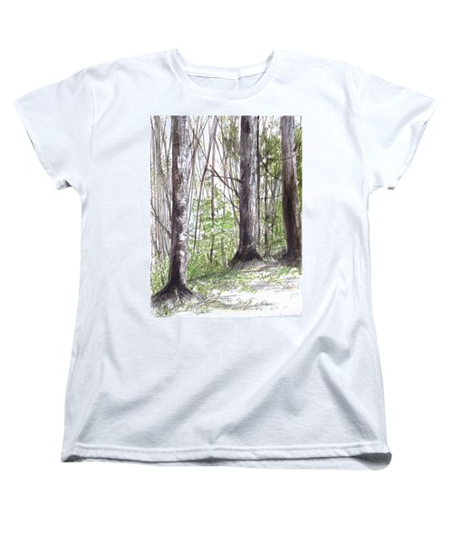 Women's T-Shirt (Standard Cut) featuring the painting Vermont Woods by Laurie Rohner