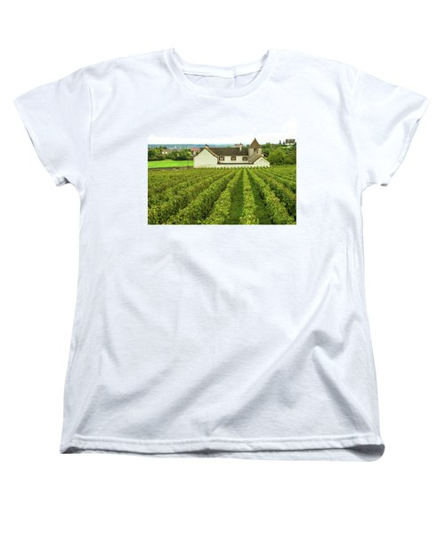 Women's T-Shirt (Standard Cut) featuring the photograph Vineyard In France by Jim Mathis