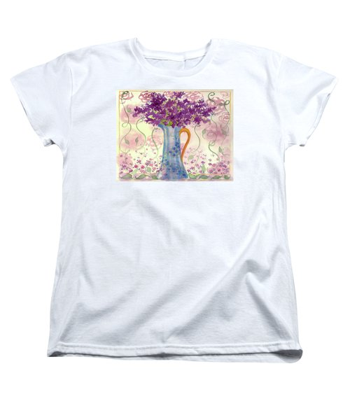 Women's T-Shirt (Standard Cut) featuring the painting Vintage Blue Flower Bouquet by Cathie Richardson