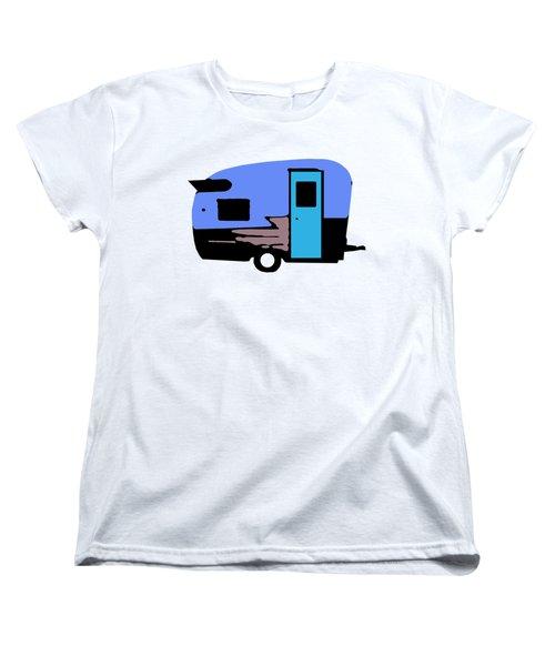 Women's T-Shirt (Standard Cut) featuring the painting Vintage Camper Trailer Pop Art Blue by Edward Fielding