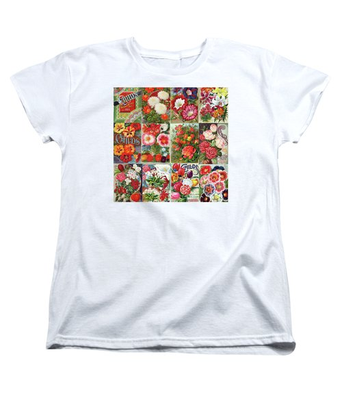 Vintage Childs Nursery Flower Seed Packets Mosaic  Women's T-Shirt (Standard Cut) by Peggy Collins