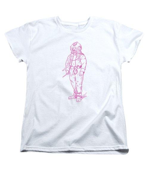 Women's T-Shirt (Standard Cut) featuring the digital art Vintage Diver by Edward Fielding