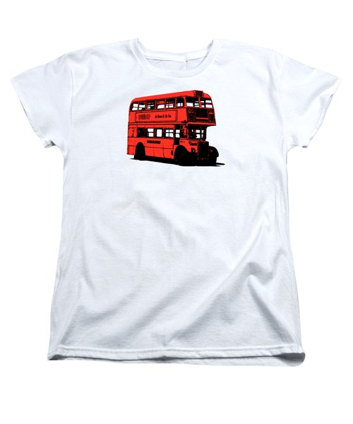 Vintage Red Double Decker London Bus Tee Women's T-Shirt (Standard Cut) by Edward Fielding