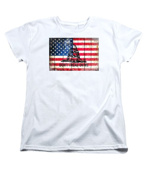 Viper On American Flag On Old Wood Planks Women's T-Shirt (Standard Cut) by M L C