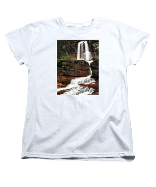 Virginia Falls Glacier National Park Women's T-Shirt (Standard Cut) by John Vose
