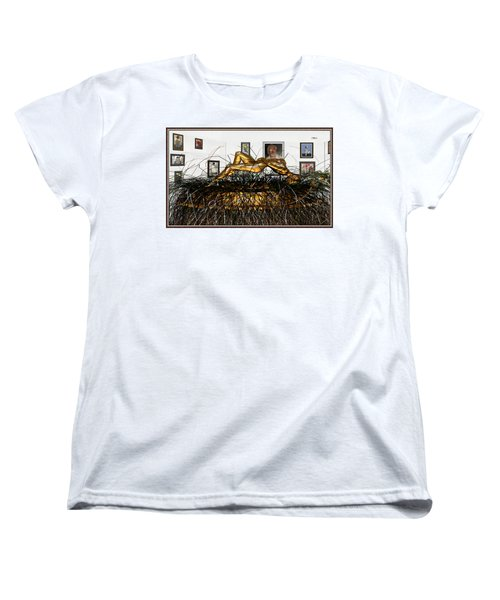 Women's T-Shirt (Standard Cut) featuring the mixed media Virtual Exhibition With Birthday Cake by Pemaro
