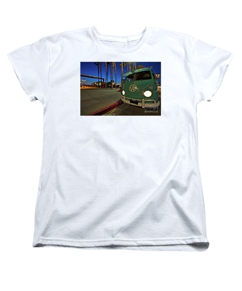 Volkswagen Bus At The Imperial Beach Pier Women's T-Shirt (Standard Cut) by Sam Antonio Photography