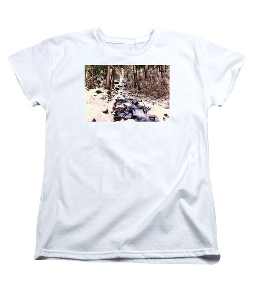 Women's T-Shirt (Standard Cut) featuring the photograph Wahkeena Falls In Ice by Jeff Swan