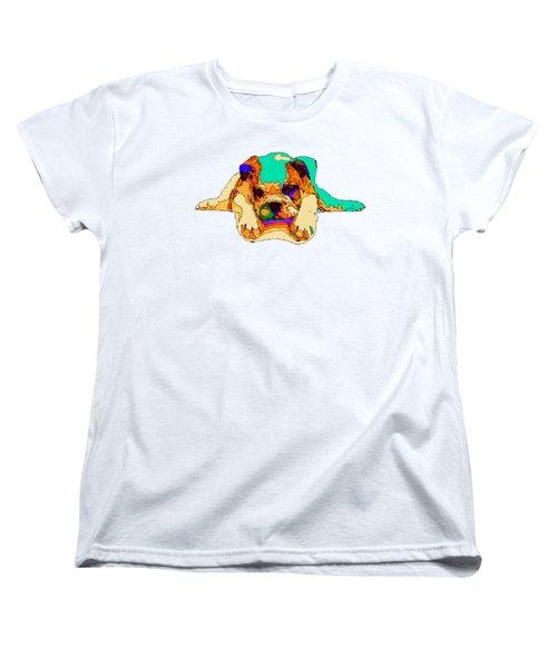 Waiting For You. Dog Series Women's T-Shirt (Standard Cut) by Rafael Salazar
