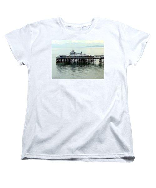 Women's T-Shirt (Standard Cut) featuring the photograph Wales Boardwalk by Joan  Minchak