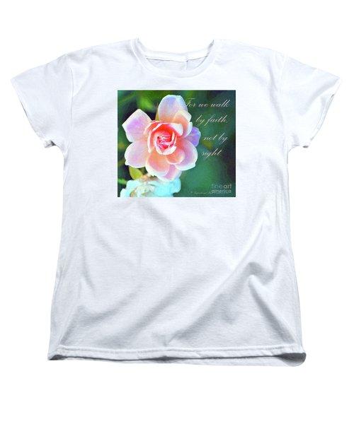 Walk By Faith Women's T-Shirt (Standard Cut) by Inspirational Photo Creations Audrey Woods