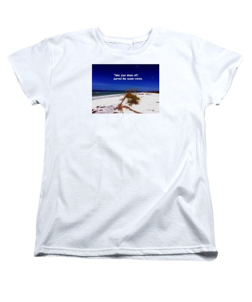 Women's T-Shirt (Standard Cut) featuring the photograph Walk In The Sand by Gary Wonning