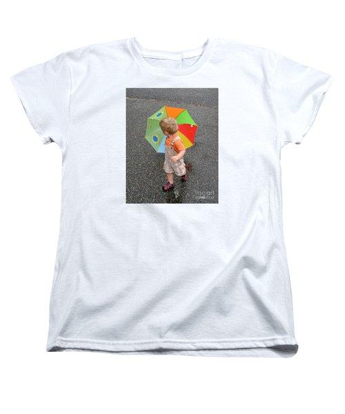 Women's T-Shirt (Standard Cut) featuring the photograph Walking In The Rain by Sami Martin