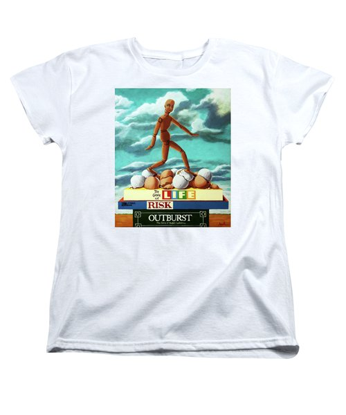 Women's T-Shirt (Standard Cut) featuring the painting Walking On Eggshells Imaginative Realistic Painting by Linda Apple