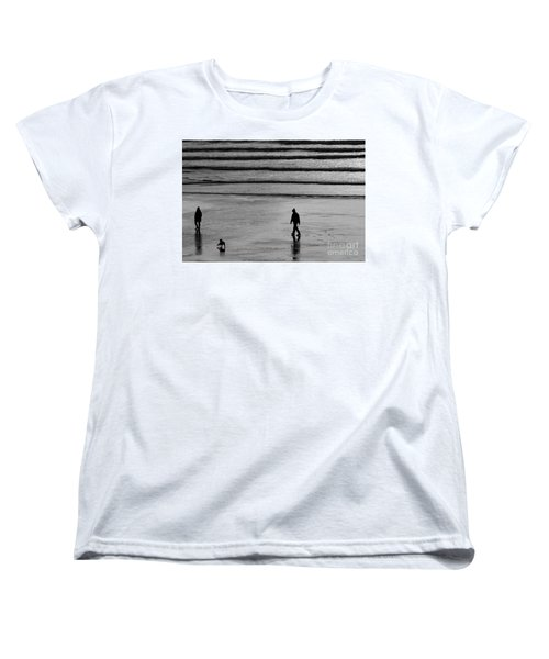 Women's T-Shirt (Standard Cut) featuring the photograph Walking The Dog At Marazion by Brian Roscorla