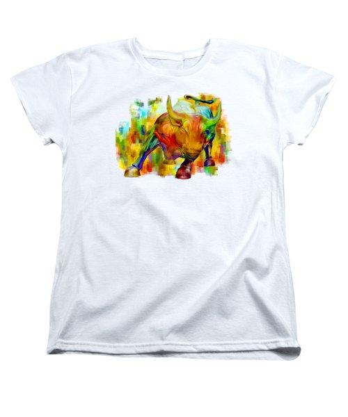 Wall Street Bull Women's T-Shirt (Standard Cut) by Jack Zulli