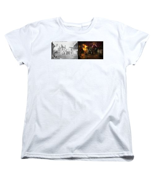 Women's T-Shirt (Standard Cut) featuring the photograph War - Wwi -  Not Fit For Man Or Beast 1910 - Side By Side by Mike Savad