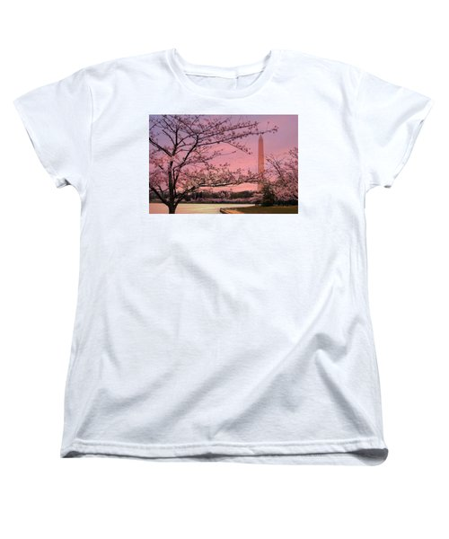 Women's T-Shirt (Standard Cut) featuring the photograph Washington Monument Cherry Blossom Festival by Shelley Neff