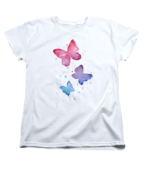 Watercolor Butterflies Women's T-Shirt (Standard Cut) by Olga Shvartsur