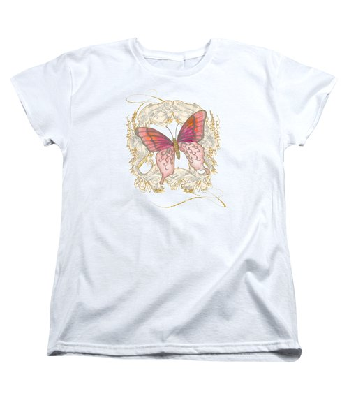 Watercolor Butterfly With Vintage Swirl Scroll Flourishes Women's T-Shirt (Standard Cut) by Audrey Jeanne Roberts
