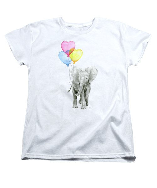 Watercolor Elephant With Heart Shaped Balloons Women's T-Shirt (Standard Cut) by Olga Shvartsur