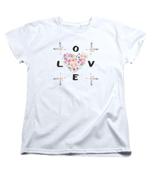 Watercolor Flowers Arrows Love Typography Women's T-Shirt (Standard Cut) by Georgeta Blanaru