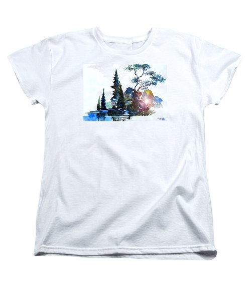 Watercolor Forest And Pond Women's T-Shirt (Standard Cut) by Curtiss Shaffer