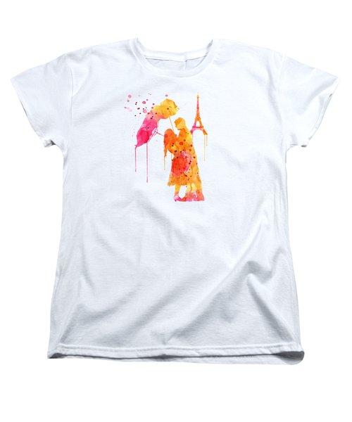 Watercolor Love Couple In Paris Women's T-Shirt (Standard Cut) by Marian Voicu