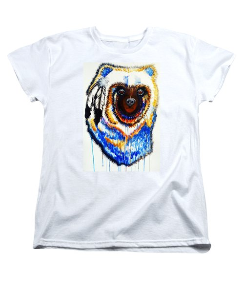 Watercolor Painting Of Spirit Of The Bear By Ayasha Loya Women's T-Shirt (Standard Cut) by Ayasha Loya