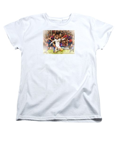 Wayne Rooney Shoots At Goal Women's T-Shirt (Standard Cut) by Don Kuing