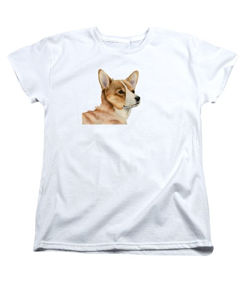 Welsh Corgi Dog Painting Women's T-Shirt (Standard Fit)