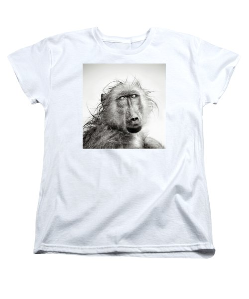 Wet Baboon Portrait Women's T-Shirt (Standard Cut) by Johan Swanepoel