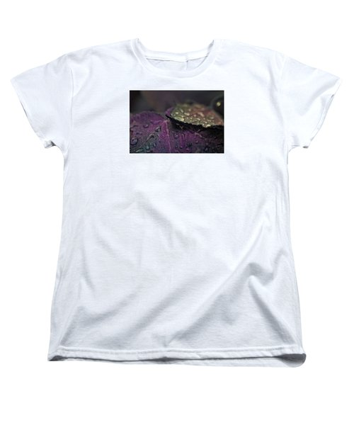 Wet Purple Leaves Women's T-Shirt (Standard Cut) by Bonnie Bruno