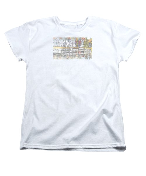Women's T-Shirt (Standard Cut) featuring the photograph Wetland Reflections Abstract by Mike Breau