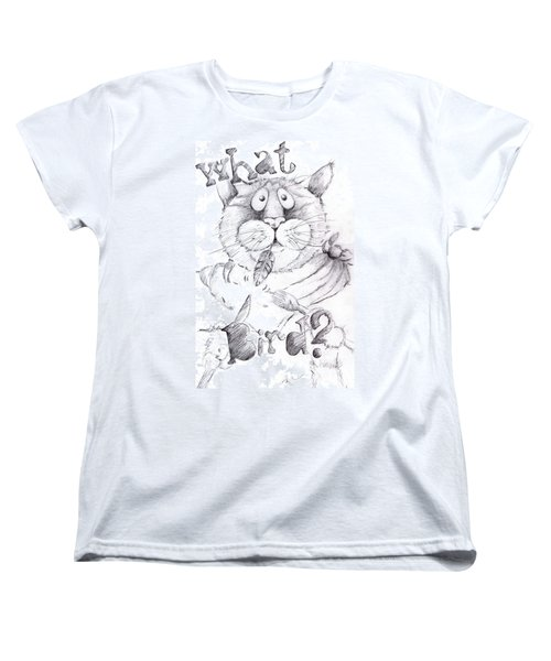 Women's T-Shirt (Standard Cut) featuring the drawing What Bird  by Mary-Lee Sanders