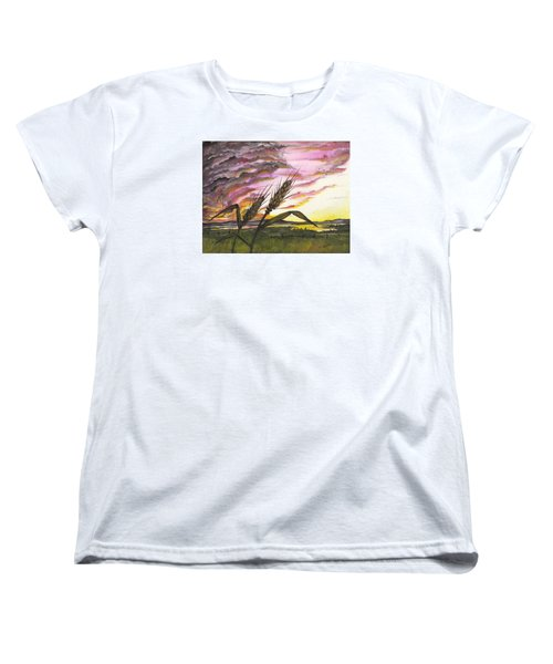 Women's T-Shirt (Standard Cut) featuring the painting Wheat Field by Darren Cannell