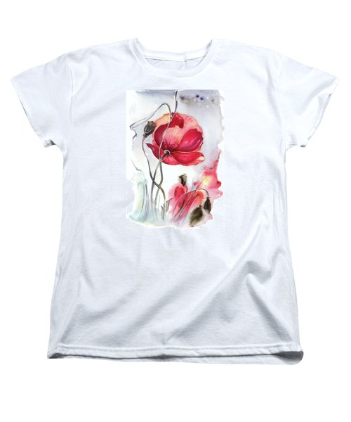 Women's T-Shirt (Standard Cut) featuring the painting When The Mists Fall Down by Anna Ewa Miarczynska