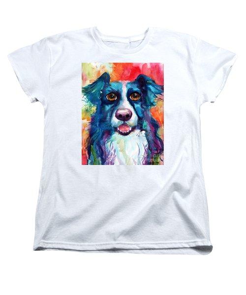 Whimsical Border Collie Dog Portrait Women's T-Shirt (Standard Cut) by Svetlana Novikova