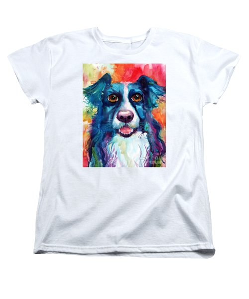 Whimsical Border Collie Dog Portrait Women's T-Shirt (Standard Fit)