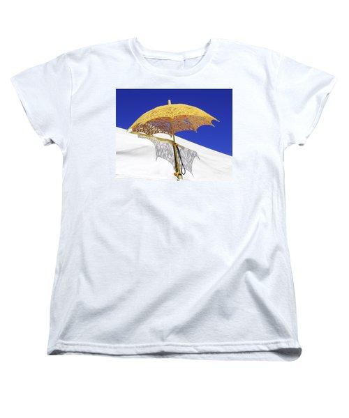 White At Base And Yellow On Blue Women's T-Shirt (Standard Cut) by Viktor Savchenko