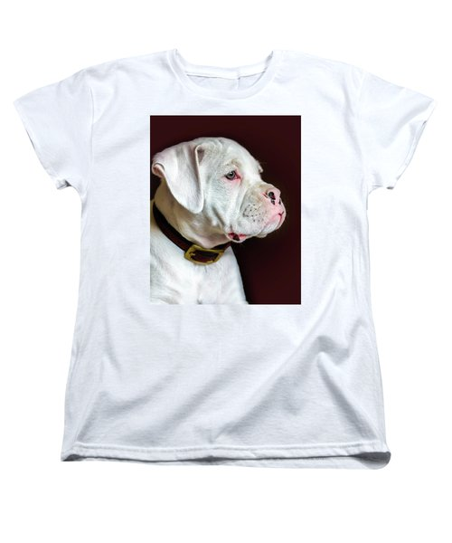 Women's T-Shirt (Standard Cut) featuring the photograph White Boxer Portrait by Dawn Romine