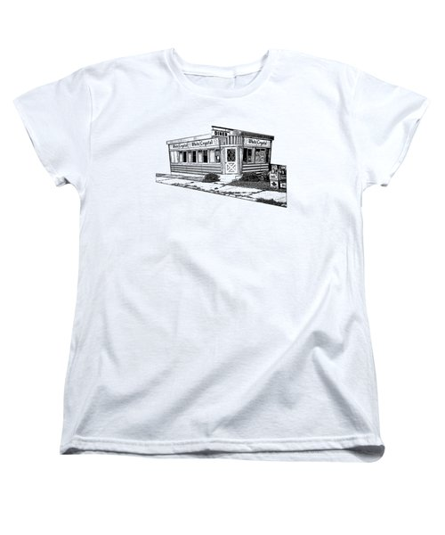 Women's T-Shirt (Standard Cut) featuring the drawing White Crystal Diner Nj Sketch by Edward Fielding