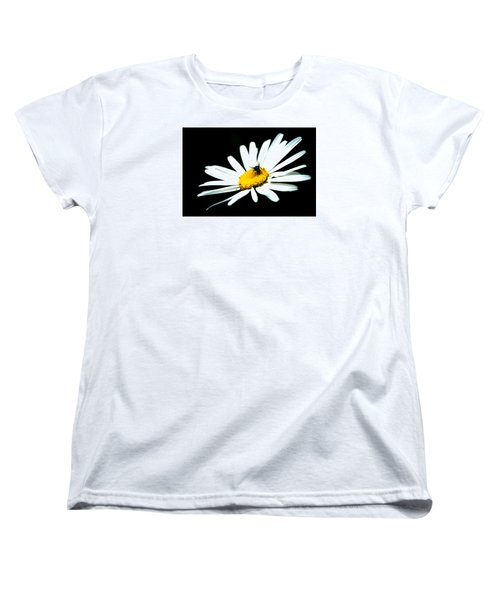Women's T-Shirt (Standard Cut) featuring the photograph White Daisy Flower And A Fly by Alexander Senin