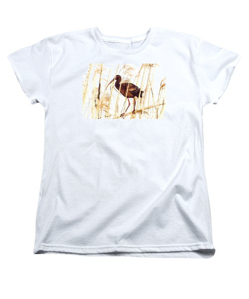 Women's T-Shirt (Standard Cut) featuring the photograph White Faced Ibis In Reeds by Robert Frederick