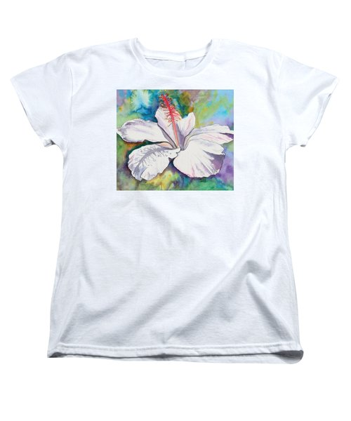 White Hibiscus Waimeae Women's T-Shirt (Standard Cut)