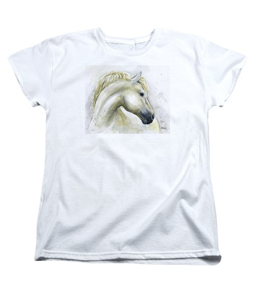 White Horse Watercolor Women's T-Shirt (Standard Fit)